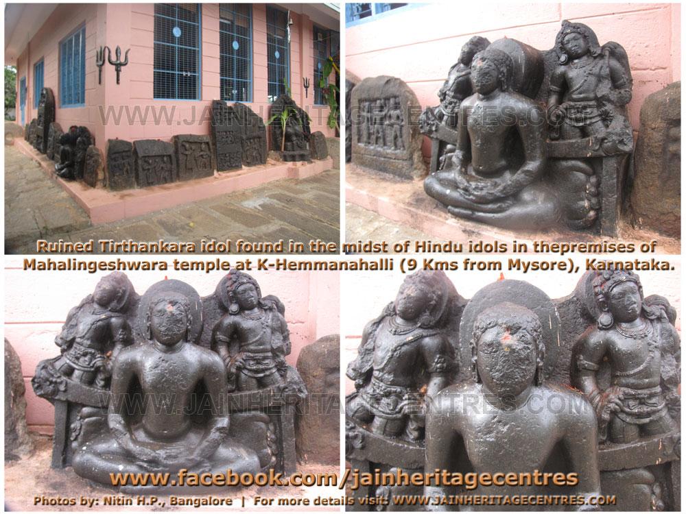 Ruined tirthankara idol at K.Hemmanahalli