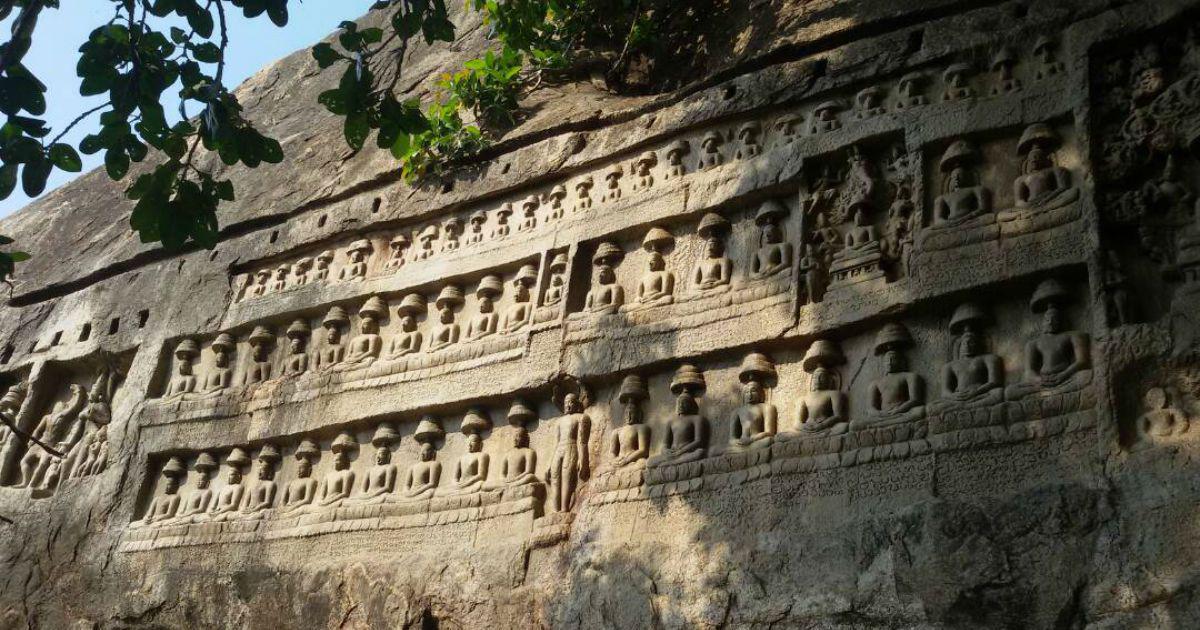 Kazhugumalai (Kalugumalai) Rock cut Jain carvings, Tamil Nadu.