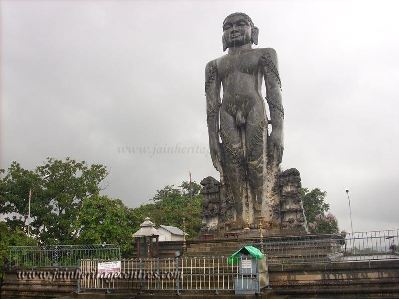 Monolithic statue of Lord Bahubali at Dharmasthala.