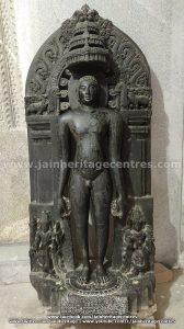 Neminath Tirthankar idol with an inscription on its pedestal.