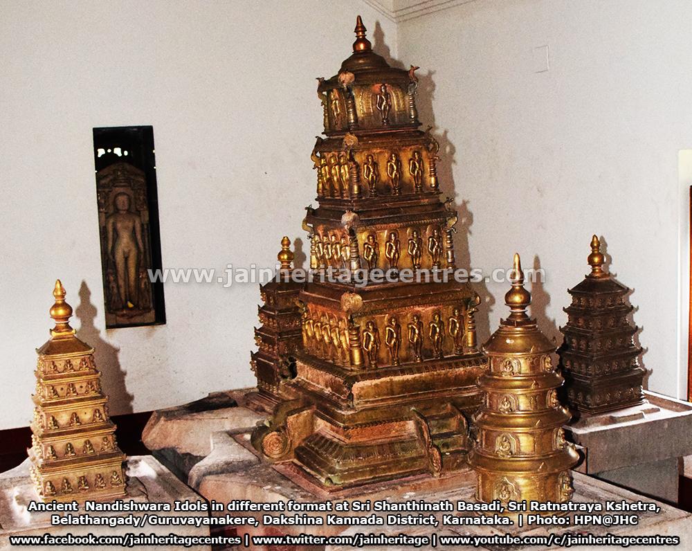 Ancient Nandishwara Idols in different format at Sri Shanthinath Basadi , Sri Ratnatraya Kshetra, Belathangady/Guruvayanakere, Dakshina Kannada District, Karnataka.
