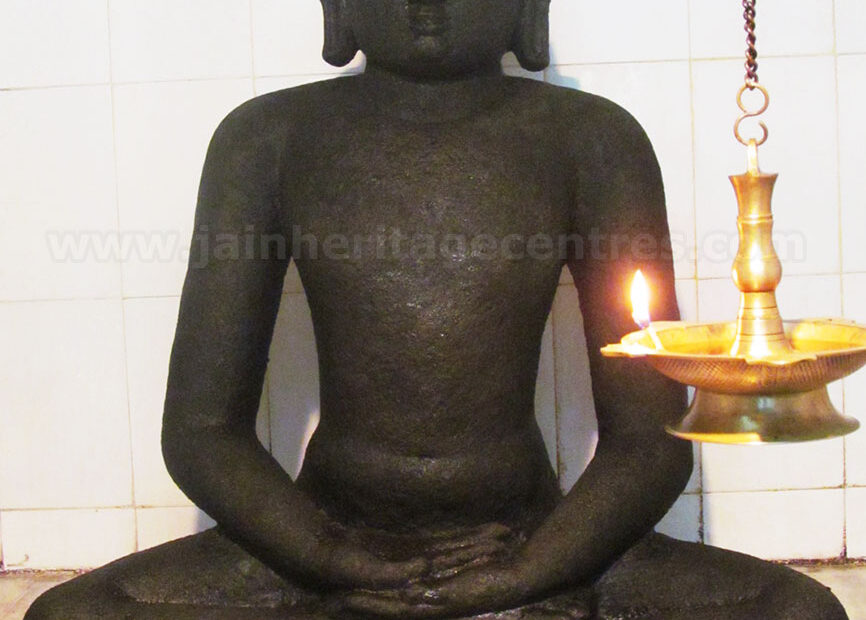 Idol of Tirthankar Adinath in Paryankasana, main deity of the Sri Adinathar Digambar Jain Temple at Arpakkam.
