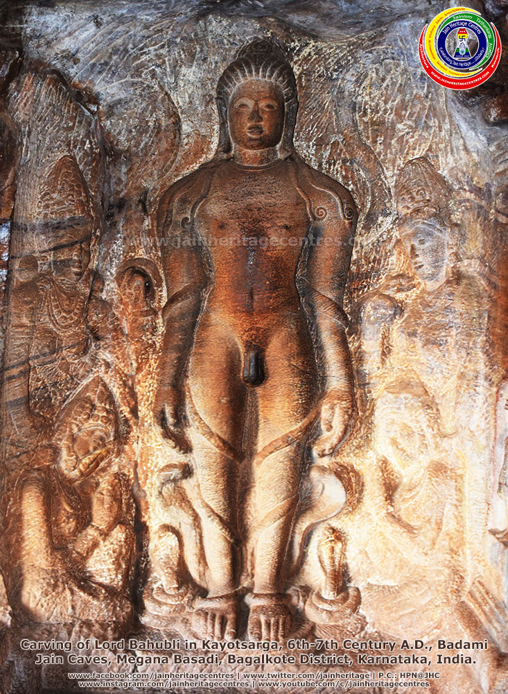 Carving of Lord Bahubli in Kayotsarga, 6th-7th Century A.D., Badami Jain Caves, Megana Basadi, Bagalkote District, Karnataka, India.