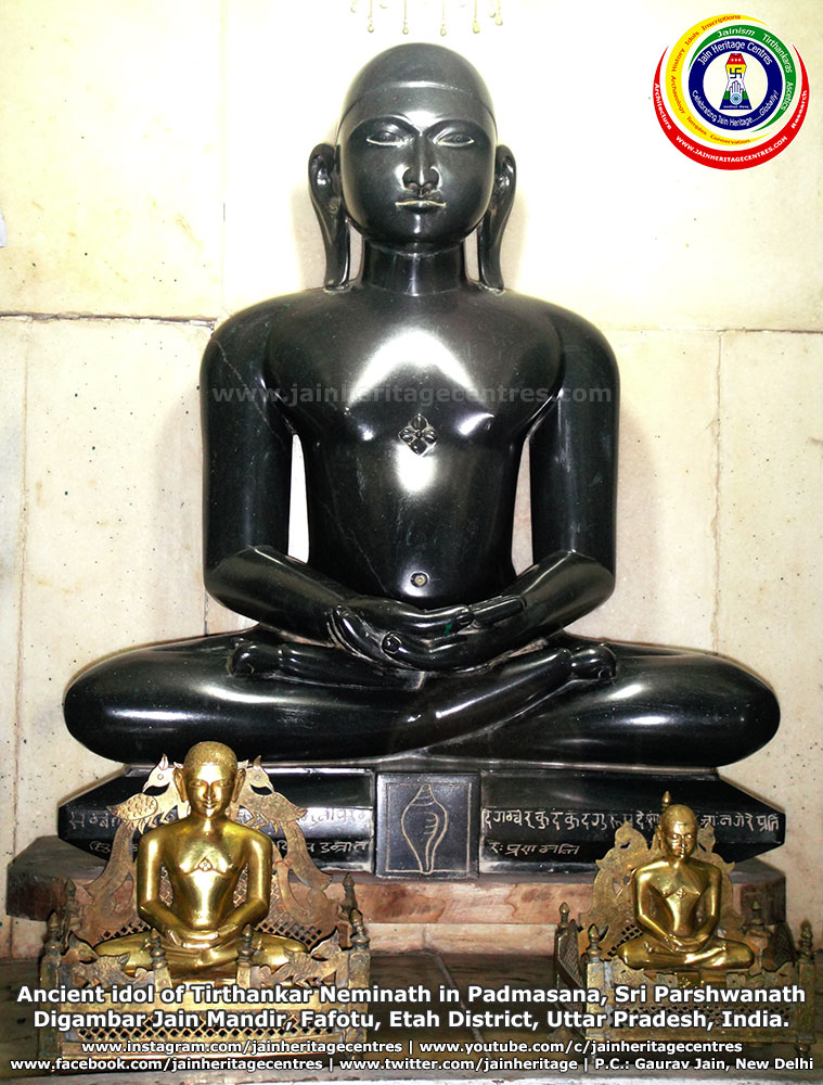 Ancient idol of Tirthankar Neminath in Padmasana, Sri Parshwanath Digambar Jain Mandir, Fafotu, Etah District, Uttar Pradesh, India.