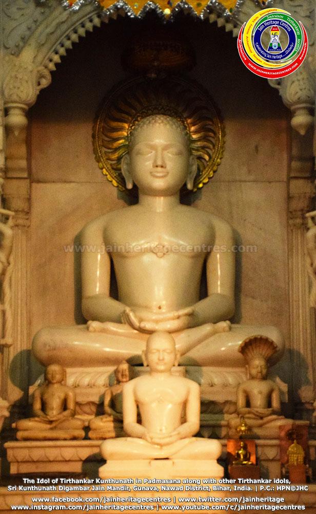 Idol of Tirthankar Kunthunath in Padmasana along with other Tirthankar idols, Sri Kunthunath Digambar Jain Mandir, Gunava, Nawad District, Bihar, India.
