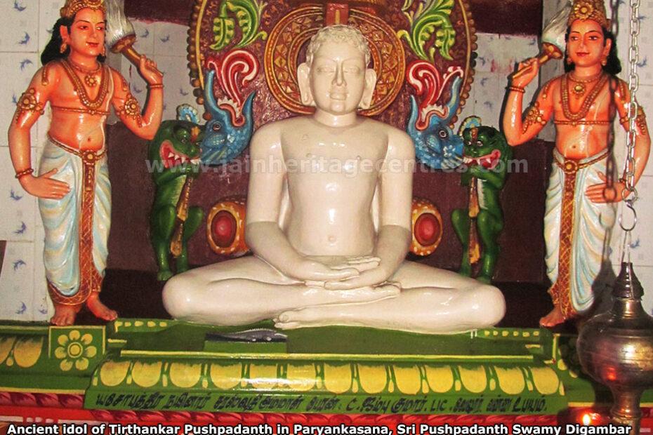 Ancient idol of Tirthankar Pushpadanth in Paryankasana, Sri Pushpadanth Swamy Digambar Jain Temple, Thirupparambur, Vembakkam Taluk, Tiruvannamalai District, Tamil Nadu, India.