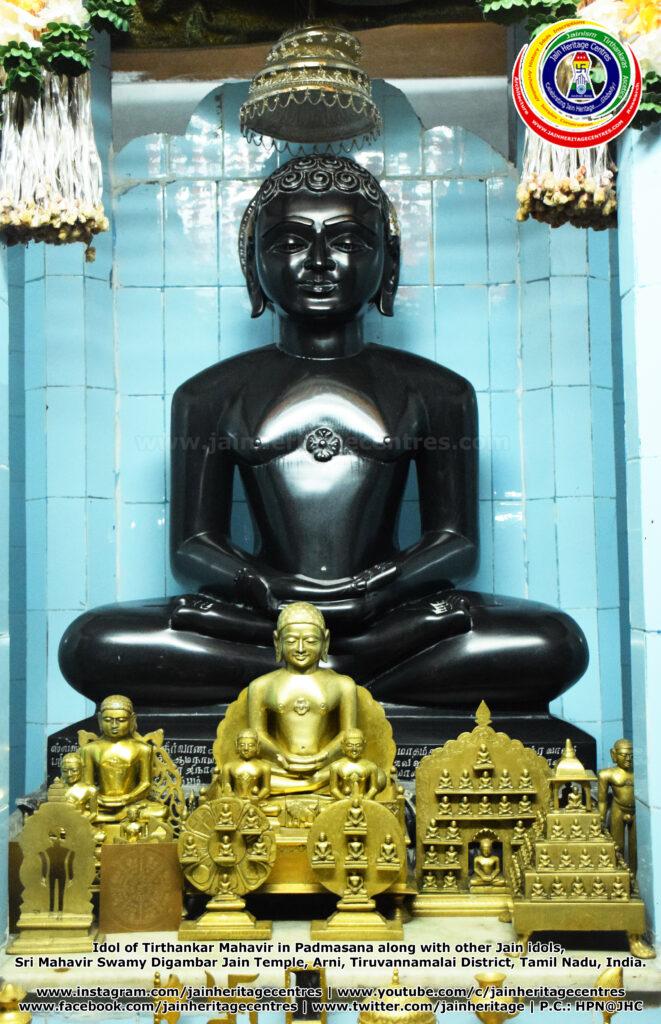 Idol of Tirthankar Mahavir in Padmasana along with other Jain idols, Sri Mahavir Swamy Digambar Jain Temple, Arni, Tiruvannamalai District, Tamil Nadu, India.
