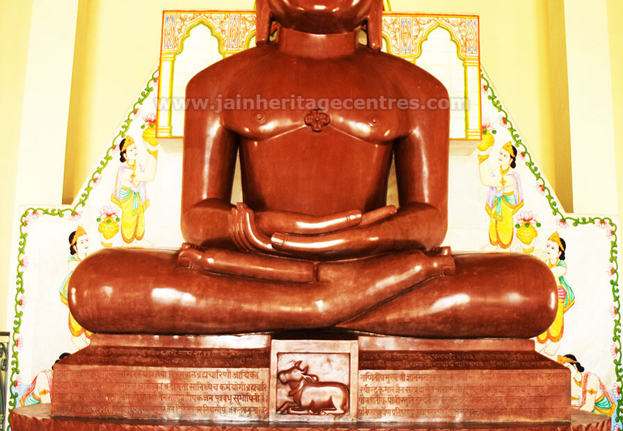 Idol of Tirthankar Adinath in Padmasana, Rishabdev Mandir, Kundalpur (Nalanda).